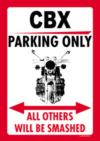 CBX PARKING ONLY sign